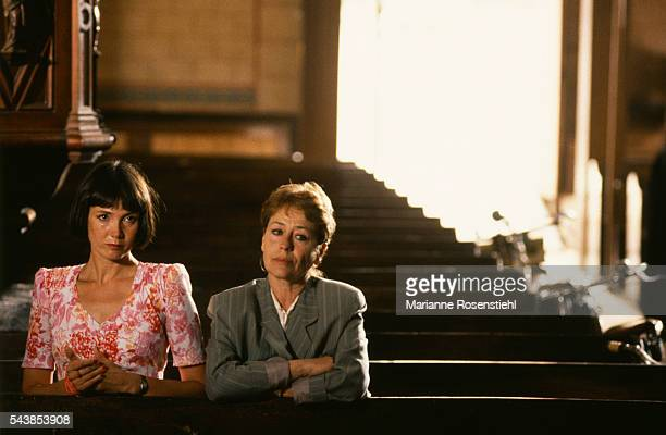 """French actresses Sabine Azéma and Annie Girardot on the set of """"Five Days in June"""" by French director, composer, screenwriter and actor Michel..."""