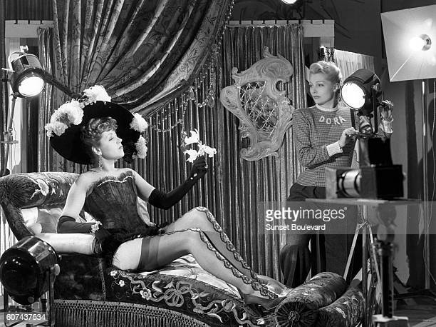 French actresses Suzy Delair and Simone Renant on the set of Quai des Orfèvres based on the novel by StanislasAndré Steeman and directed by...