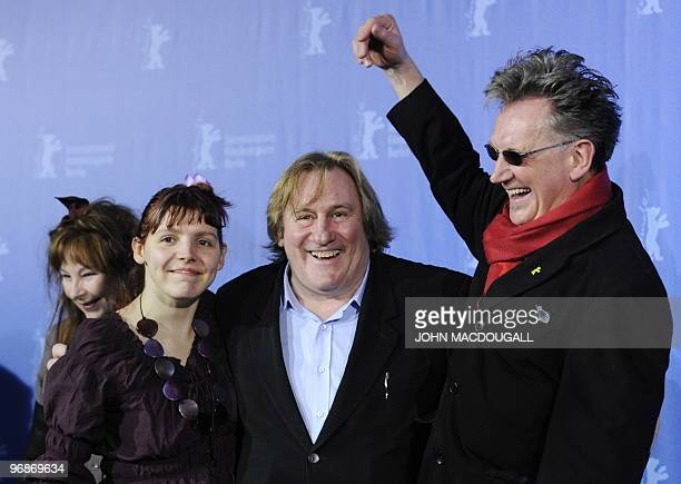 French actresses Yolande Moreau French actress Miss Ming French actor Gerard Depardieu and French director Benoit Delepine pose during the photo call...