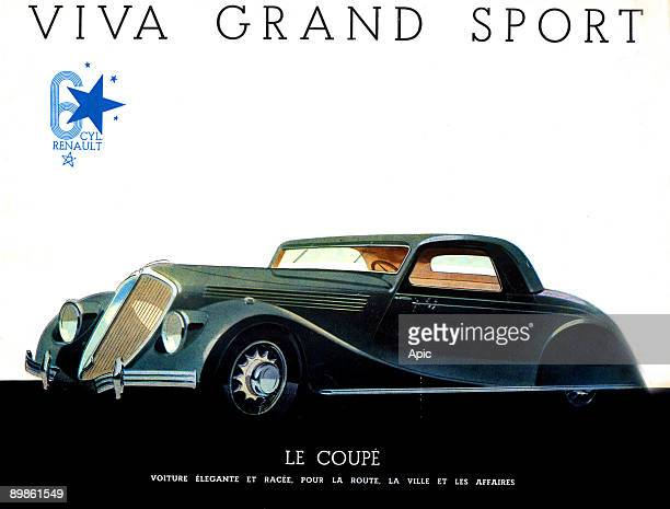 French advert for the car Viva Grand Sport by Renault publishing about 1934