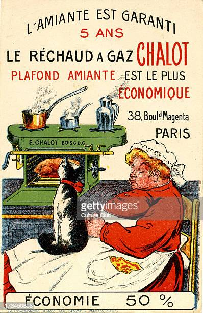 French advertisement for Chalot gas stoves Shows a stove with a sleeping cook and a cat looking at the roasting chicken inside Caption reads 'The...