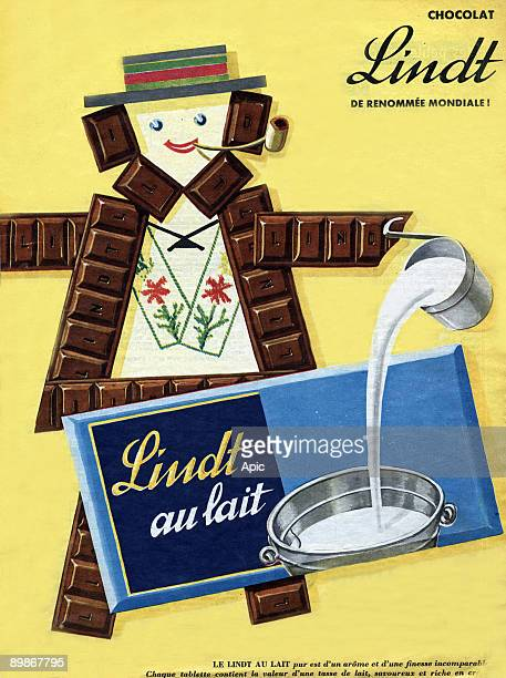 French advertisement for Lindt milk chocolate november 1957