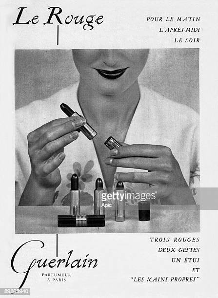 French advertisement for lipsticks by Guerlain 1953