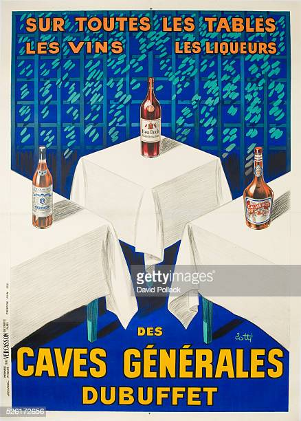 French Advertising poster for wines and spirits ca 1920s Illustrated by Lotti