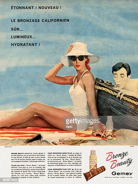 French advertisment for Gemey tanning cream 1958