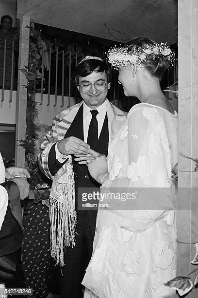 French adviser to President François Mitterrand, Jacques Attali, the day of his wedding with model Elisabeth Allain.