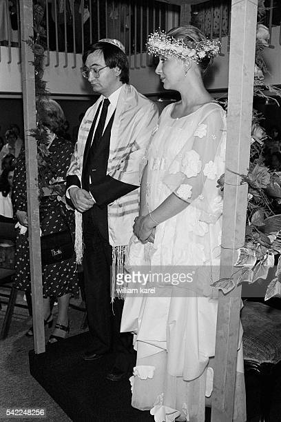 French adviser to President François Mitterrand Jacques Attali the day of his wedding with model Elisabeth Allain