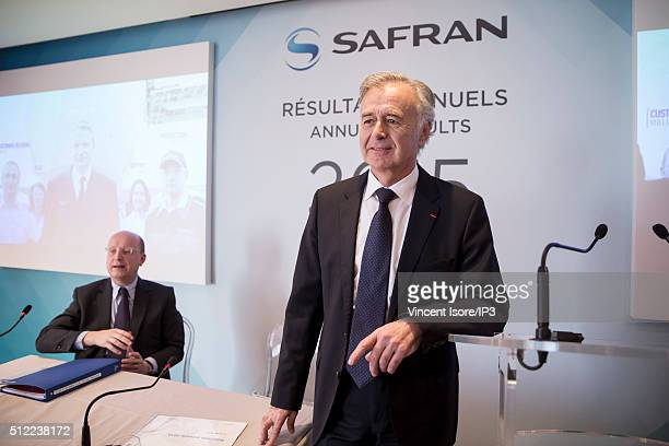 French aero engine group Safran gives a press conference to present the 2015 full year resultson February 25 2016 in Paris France Bernard Delpit...