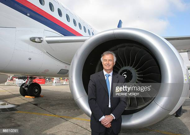 French aerospace group Snecma CEO Philipe Petitcolin poses in front of the new Sukhoi Superjet 100 jetliner on June 16 2009 at the week long 48th...