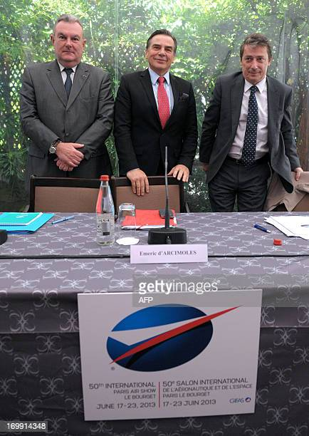 French aerospace industries association Managing director Pierre Bourlot, Chairman and CEO of International Paris Air Show Emeric d'Arcimoles and...