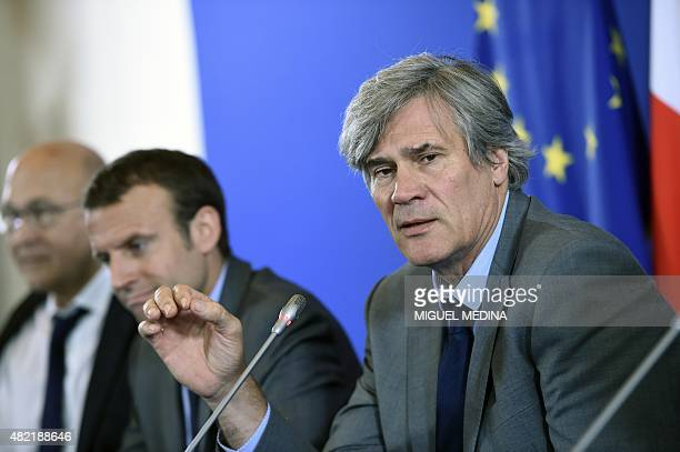 French Agriculture minister and government spokesperson Stephane Le Foll speaks during a press conference next to French Economy and Industry...