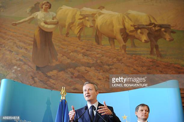 French Agriculture Minister Bruno Le Maire and EU agriculture commissioner Dacian Ciolos give a press conference on April 28 2010 in Paris after the...