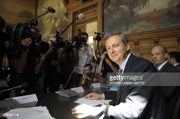 French Agriculture minister Bruno Le Maire gives a press conference on August 4 2009 in Paris after a meeting with representatives of fruit and...