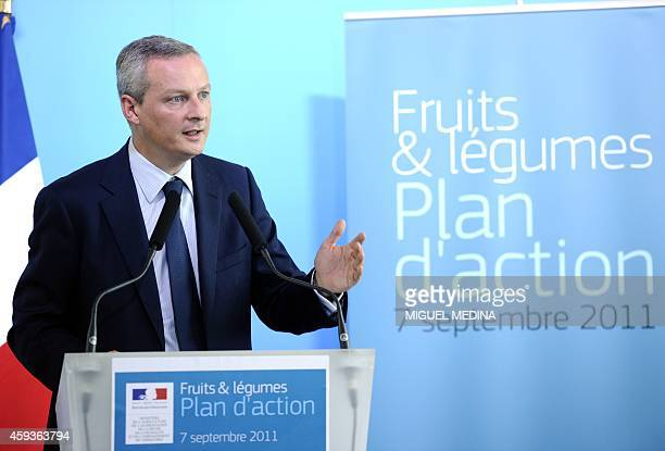 French Agriculture Minister Bruno Le Maire gives a press conference at his ministry in Paris on September 7 2011 following a meeting with fruits and...