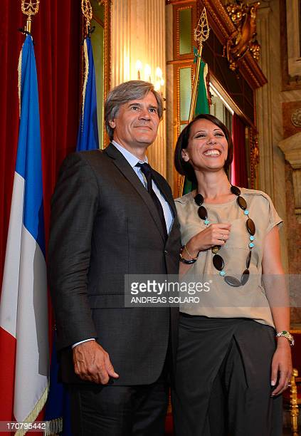French Agriculture Minister Stephane Le Foll poses with his Italian counterpart Nunzia De Girolamo after their meeting focusing on the reform of the...