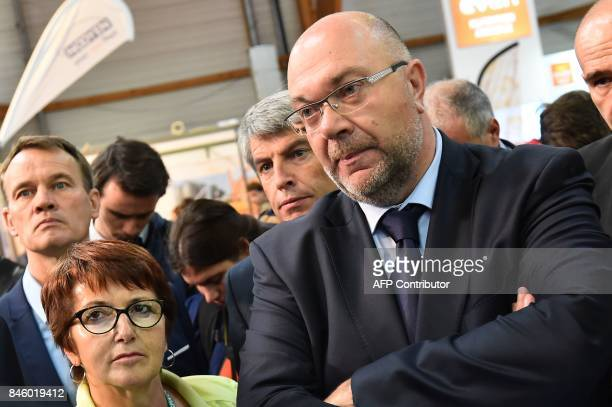 French Agriculture Minister Stephane Travert and National Federation of Agricultural Holders's Unions president Christiane Lambert visit the 31th...