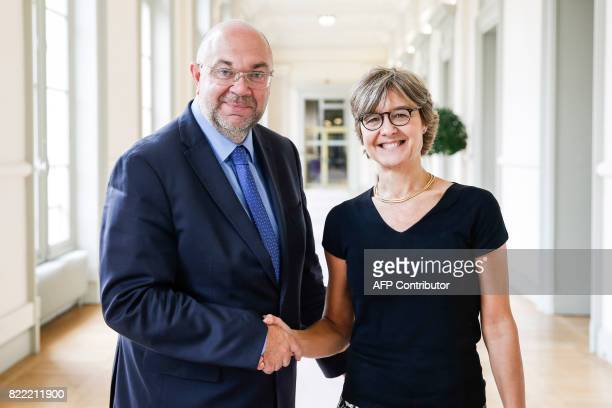 French Agriculture Minister Stephane Travert shakes hand with Spanish Minister of Agriculture Isabel Garcia Tejerina at he Agriculture ministry in...