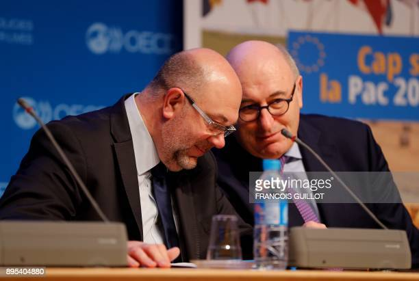French Agriculture Minister Stéphane Travert and European commissioner for Agriculture and Rural Development Phil Hogan give a press conference on...