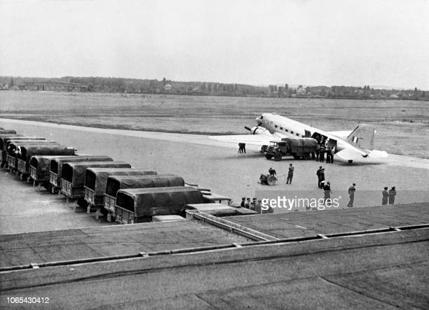 French air cargo is unloded on July 08, 1948 at Gatow airport in the Berlin British-controlled zone during the Berlin blockade by Russia.