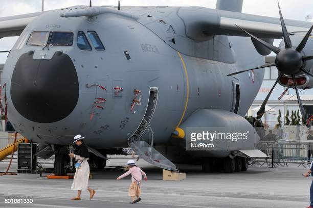 A French Air Force Airbus A400M transport plane on the tarmac on the last day of the International Paris Air Show at Le Bourget Airport near Paris on...