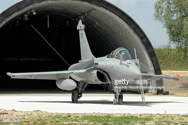 French Air Force Rafale C fighter plane at Saint-Dizier Air Base, France.