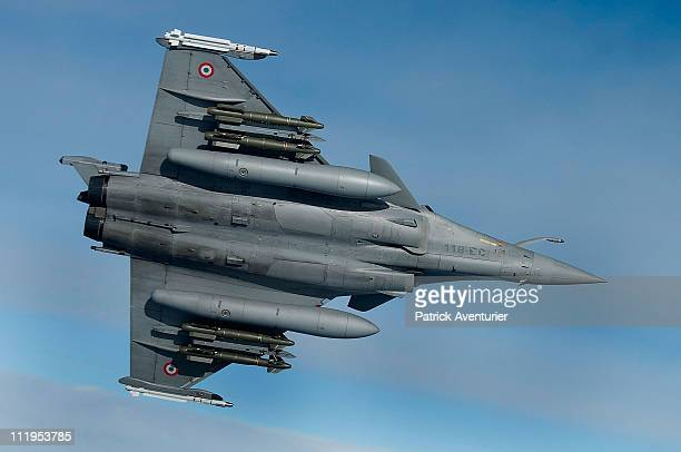 French air force Rafale fighter jet flies over the Mediterranean sea during the air operation 'Harmattan' April 9 2011 near Libya The nofly zone...
