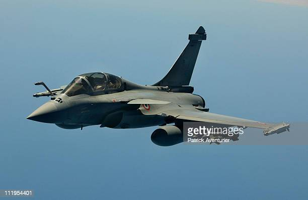 A French air force Rafale fighter jet flies over the Mediterranean sea during the air operation 'Harmattan' April 9 2011 near Libya The nofly zone...