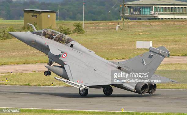 A French Air Force Rafale jet during Exercise Green Shield 2014 at Nancy Air Base, France.