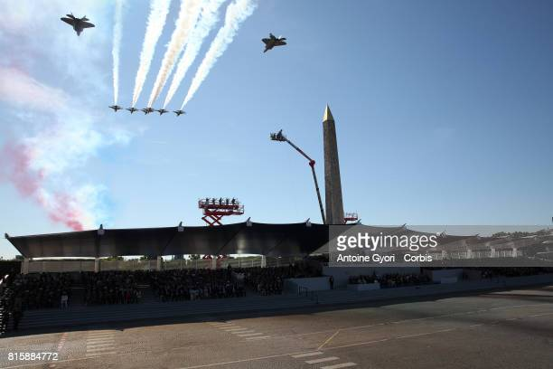 French Air Forces passed the Concorde during the traditional Bastille day military parade on the ChampsElysees on July 14 2017 in Paris France...