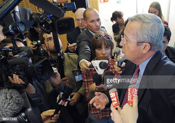 French Air France-KLM airline company director general Pierre-Henri Gourgeon speaks during a press conference at Air France headquarters near Roissy...
