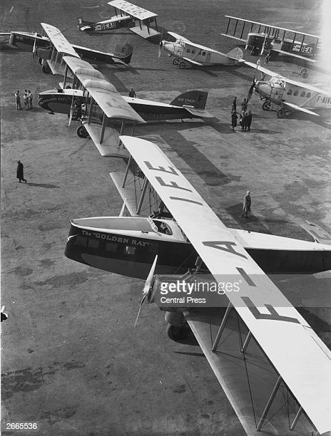 French Air Union's fleet of Breguet and Bleriot Golden Ray passenger planes at Le Bourget aerodrome near Paris, celebrating the tenth anniversary of...