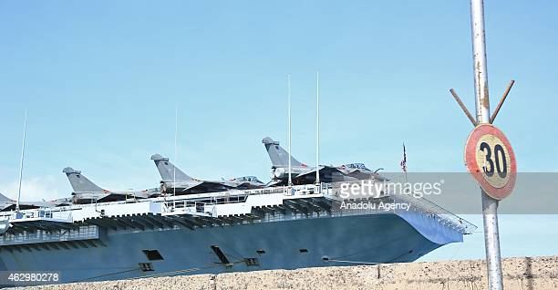 French aircraft carrier 'Charles de Gaulle' anchors in Djibouti port to fight with USled coalition forces against Islamic State of Iraq and the...