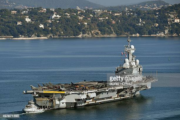 French aircraft carrier CharlesdeGaulle leaves the southern French port of Toulon on November 18 2015 France said its Charles de Gaulle aircraft...
