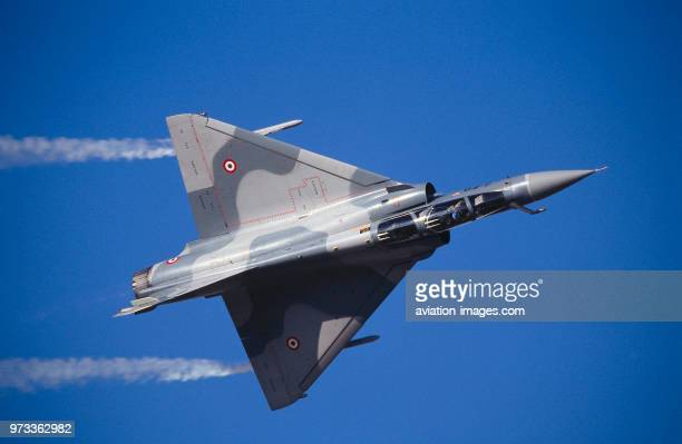 French AirForce Dassault Mirage 2000 in the flyingdisplay with smoke at the 1997 Dubai International Air Show