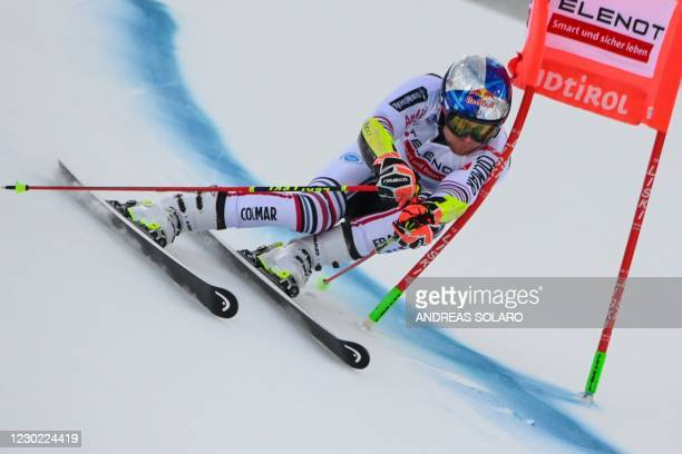 French Alexis Pinturault competes during the first run of the FIS Alpine Ski Men's Giant Slalom World Cup event, on December 20, 2020 on the Gran...