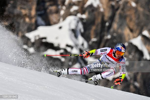 French Alexis Pinturault competes in the first run of the Men's Giant Slalom event on February 19, 2021 at the FIS Alpine World Ski Championships in...