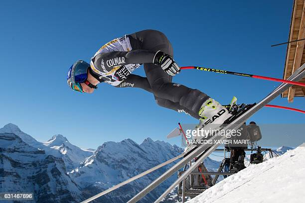 French Alexis Pinturault takes the start of the training session for the men's downhill race of the FIS Alpine Skiing World Cup at the Lauberhorn in...