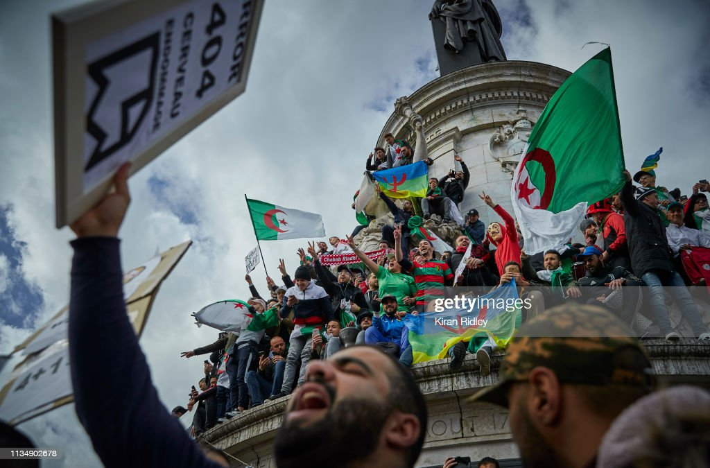 Demonstration Against Algerian President Bouteflika Standing For A Fifth Term : News Photo