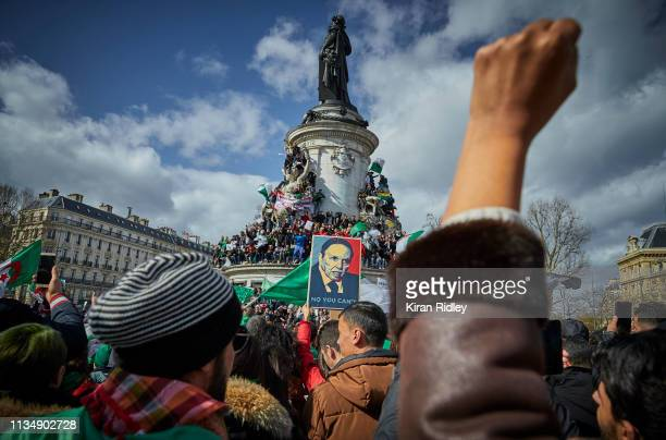 French Algerian demonstrators in a 'Silmiya' or peaceful demonstration on Place de la République to protest against a fifth presidential term of...