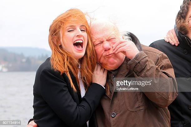 French Alison Wheeler and Philippe Nahon attend 23rd Gerardmer Fantastic Film Festival photocall on January 30 2016 in Gerardmer France