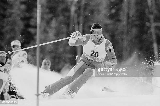 French alpine ski racer Luc Alphand pictured in action during competition to finish in 4th place in the Men's combined event at Nakiska on Mount...