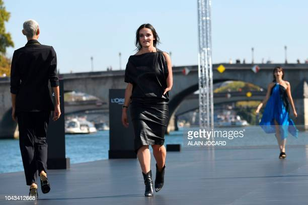TOPSHOT French alpine skier and Paralympic Champion Marie Bochet presents a creation for L'Oreal during the SpringSummer 2019 ReadytoWear collection...