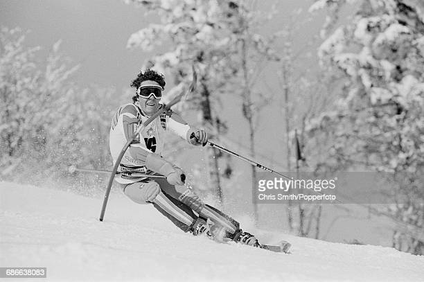 French alpine skier Didier Bouvet pictured in action during competition to finish in 3rd place to win the bronze medal in the Men's slalom event at...