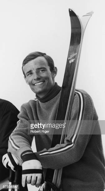 French alpine skier JeanClaude Killy as leans on his poles and smiles 1960s