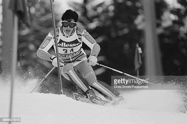 French alpine skier Michel Vion pictured in action during competition in the Men's slalom event during the 1984 Alpine Skiing World Cup at Kitzbuhel...