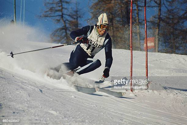 French alpine skier Patrick Russel pictured during competition to finish in first place to win the World Cup giant slalom event in Vald'Isere France...