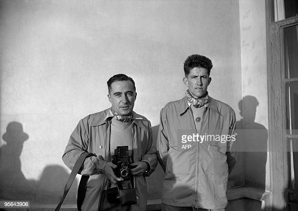 French alpinist Gaston Rebuffat poses in 1950 with French climber Marcel Ichac before their expedition on Annapurna Annapurna I was the first...