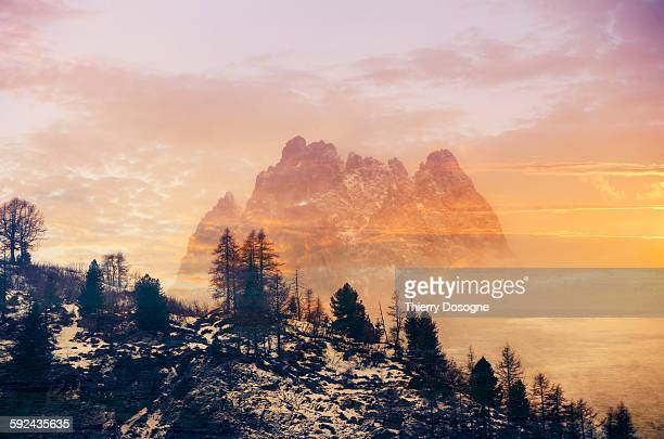 French Alps in sunset