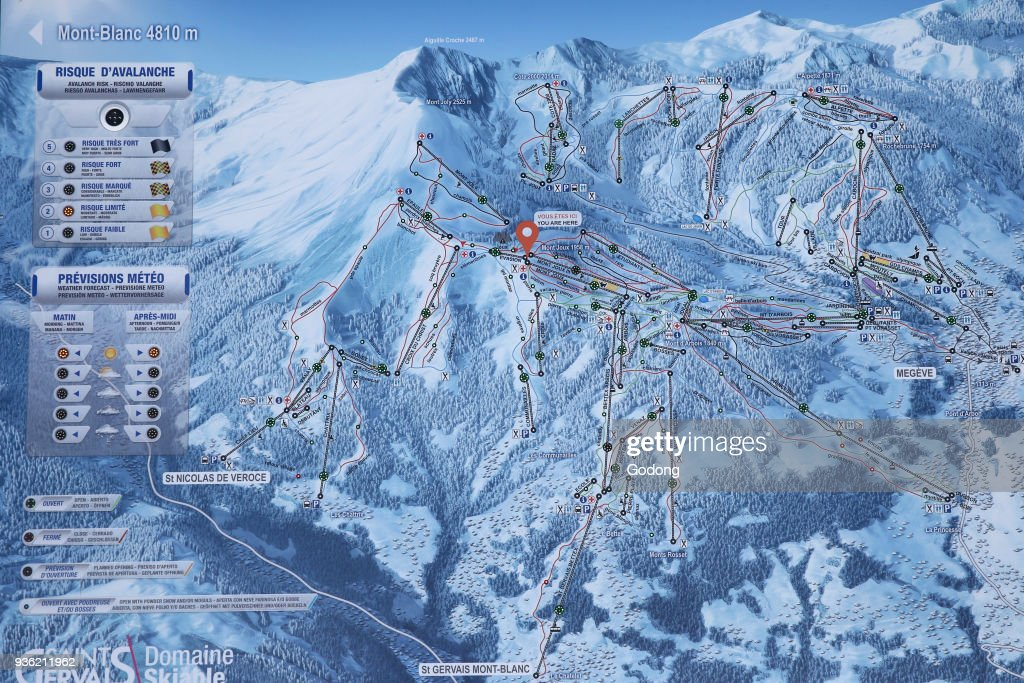 Map Of The Alps In France.French Alps Mont Blanc Massif Map Of Ski Slope France News Photo