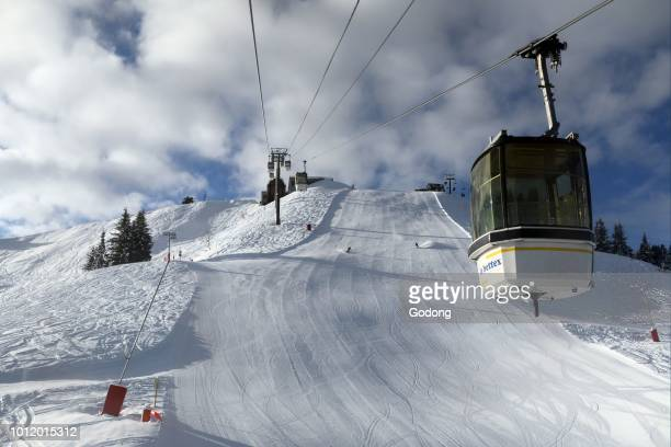French Alps MontBlanc massif Ski slope and cable cars SaintGervais France